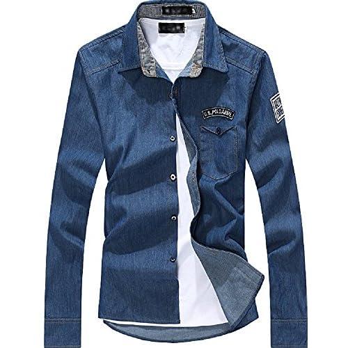 kimurea select メンズ ファッション 長袖 カジュアル ボタン シャツ カットソー ジャケット (Mサイズ, ダークブルー)