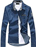 kimurea select メンズ ファッション 長袖 カジュアル ボタン シャツ カットソー ジャケット (XLサイズ, ダークブルー)