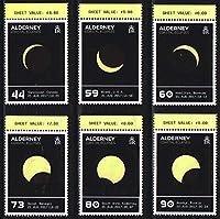 温めると図案が現れる切手 オルダーニー2017年・日食6種完