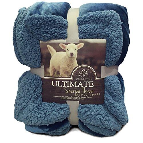 Hanacat 毛布 ひざ掛け 2枚合わせ シープ調 ボア あったか 洗える ブルー(100×130cm)