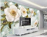 壁画の壁紙3Dエンボス加工のバラヨーロピアンスタイルのレトロなテレビの背景の壁のリビングルームの寝室の装飾、500x320cm(WxH)