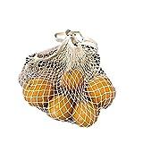 コットン メッシュバッグ ネット袋、オーガニックコットンメッシュ、食料品の買い物のための携帯用ひもの袋のオルガナイザー,屋外のパッキング,貯蔵,フルーツ,野菜ベージュ
