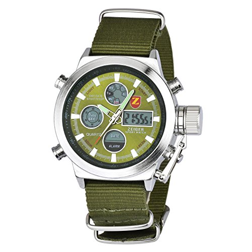 Zeiger メンズ腕時計 アナデジLED 多機能 アラーム 日付曜日 クロノグラフ 日本製クォーツ スポーツ 時計 軍事 ミリタリー 男 アーミーグリーン W220