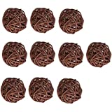 MagiDeal 10 Pieces Multi Colors Wicker Vintage Sepak Takraw Ball 5 cm/1.96 inch Wicker Rattan Ball Ornaments DIY Home Wedding Christmas Party Hanging Decoration Accessories - Coffee