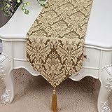 テーブルランナー ホームデコレーション 中国モダンシンプルスタイル 刺繍 工芸品 タッセル 長方形 エレガント (Color : Yellow, Size : 33*230cm)