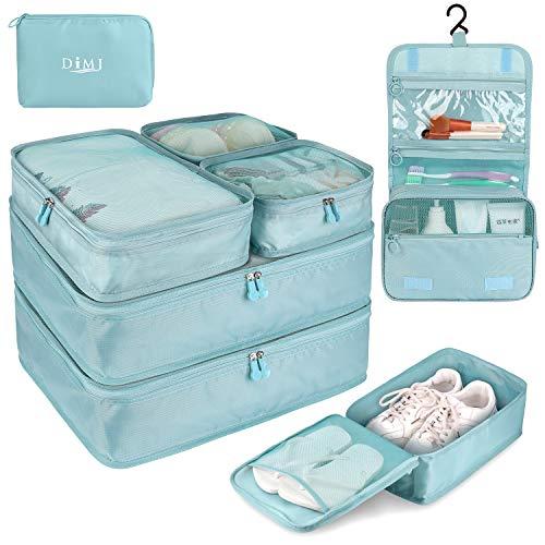DIMJ トラベルポーチ アレンジケース 8点セット 軽量 大容量 旅行 出張 衣類収納 スーツケース整理 靴入れ 洗面用具入れ PC周辺小物用ポーチ (水色)
