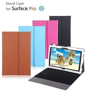 【surface pro2 ケース レザー 】2つ折 手帳カバー 軽量/薄 サーフェス/サーフェイス プロ2 スタンドケース/カバー Microsoft Surface対応ケース タブレットPC マイクロソフト 32BG/64BG/128GB/256GB/512GB PCタブレット Windows 8 SURFACE-PRO2-99-F31127 (ローズレッド)