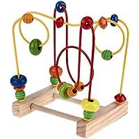 知育玩具シリーズ 木製 玉転がし ビーズコースター くみくみスロープ 1から3歳幼児に向け 出産祝い 誕生日 Broadroot (A)