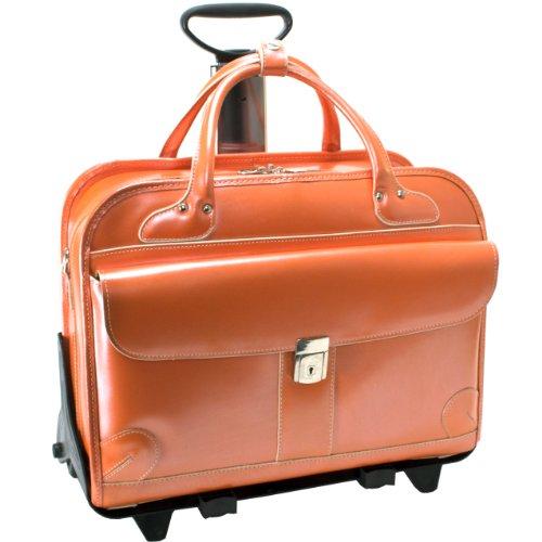 McKlien 96610 Lakewood 96610- Orange Leather Fly-Through Checkpoint-Friendly Detachable-Wheeled Ladies Briefcase