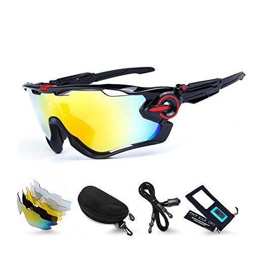 M.O.C evo スポーツサングラス レンズセット 5枚交換レンズ 偏光サングラス 偏光 uv400 超軽量 サイクリング ロードバイク ゴルフ 登山 メンズ レディース(黒/赤)