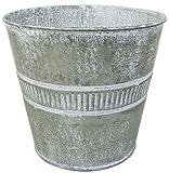 丸和貿易 植木鉢 ブリキ リコルテ ラウンドポット L シルバー 400694702