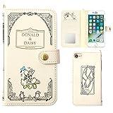 iPhone7 ケース 手帳型 カバー ディズニー カード収納 鏡 ストラップホール付き / ドナルドダック / デイジーダック