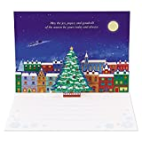 サンリオ クリスマスカード 洋風 ポップアップ 夜の町並みにクリスマスツリー  S6119