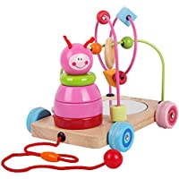木製ローリングビーズ迷路おもちゃPull Along Car Roller Coaster文字列幼児用 – Rolls Easy forベビー子供早期教育 ピンク 46687