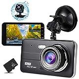 ドライブレコーダー 前後カメラ 32GB SDカード付き 4インチ1080PフルHD高画質車載カメラ デュアルドライブレコーダー 2カメラ同時録画対応 170°広視野角 常時録画 G-sensor( WDR)