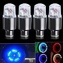 4個 車 オートバイ LED ライト タイヤ バルブ キャップ バイク 車輪用 プフラッシュ スポーク ランプ RGB
