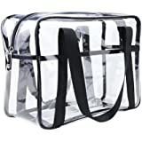 ONEGenug Clear Cosmetics Bag Transparent Tote Bag Thick PVC Zippered Toiletry Carry Pouch Waterproof Makeup Artist Large Bag