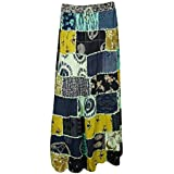 Womens Bohemian Skirt Patchwork Tribal Printed Summer Banjara Long Skirts Large