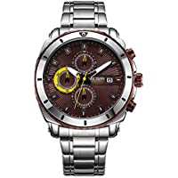 Megir Men's Gold Stainless Steel Quartz Watches Business Chronograph Analgue Wristwatch for Man Waterproof Luminous
