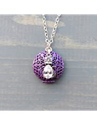 Purple Tuxedo Cat Girl's Aromatherapy Necklace Essential Oil Diffuser Locket Pendant Jewelry for Children w/reusable...