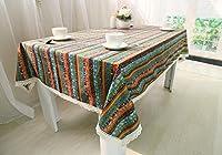 ボヘミアンエスニックスタイルテーブルクロス綿とリネンレジャーダイニング洗えるクリスマス印刷四角いテーブル装飾雑巾 , 棕色 , 140*180cm