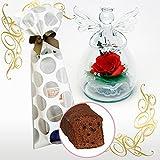 花とスイーツ のセット プリザーブドフラワー(天使:赤バラ)&熟成ケーキ( スイーツ フラワーギフト 洋菓子 ギフトセット)