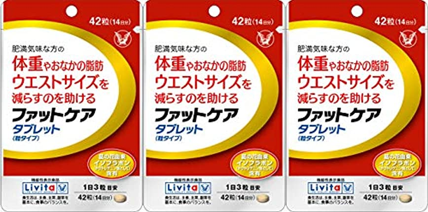 モノグラフソース把握【3個セット】ファットケア タブレット 42粒(機能性表示食品)