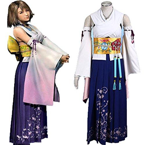 【HALLE】コスプレ衣装 コスチューム ファイナルファンタジーX FF10 ユウナ 戦闘服  full set (女性M 163-167cm) -