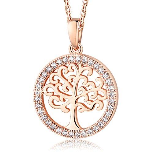 MEGA CREATIVE JEWELRY 生命の樹 ネックレス ペンダント レディース シルバー925純銀製 スワロフスキーラインストーン ローズゴルード ジュエリー プレゼント 人気 ブランド