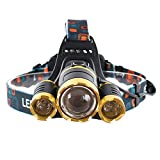 ヘッドランプ 超強力 5400ルーメン LED ヘッドライト 充電式 防水 耐久 4つ点灯モード ズーム機能 自転車 登山 夜間作業 アウトドアに適用 新18650電池2本付 Blu7ive