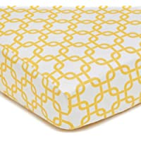 American Baby Company 100% Cotton Percale Fitted Crib Sheet, Golden Yellow Twill Gotcha by American Baby Company