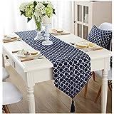 [Ziv-Nat] テーブルランナー 青 ネイビー ブルー 32×220cm 北欧 モダン 幾何模様 おしゃれ 洗える 裏無地 ジャカール アジアン 和風 ペンダント付き