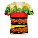 男女通用 珍味ビッグハンバーガープリント Tシャツトップス 個性 Lサイズ