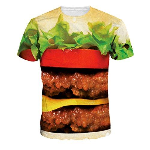 珍味ビッグハンバーガープリントショートスリーブガールズボーイズのカップルのTシャツトップス