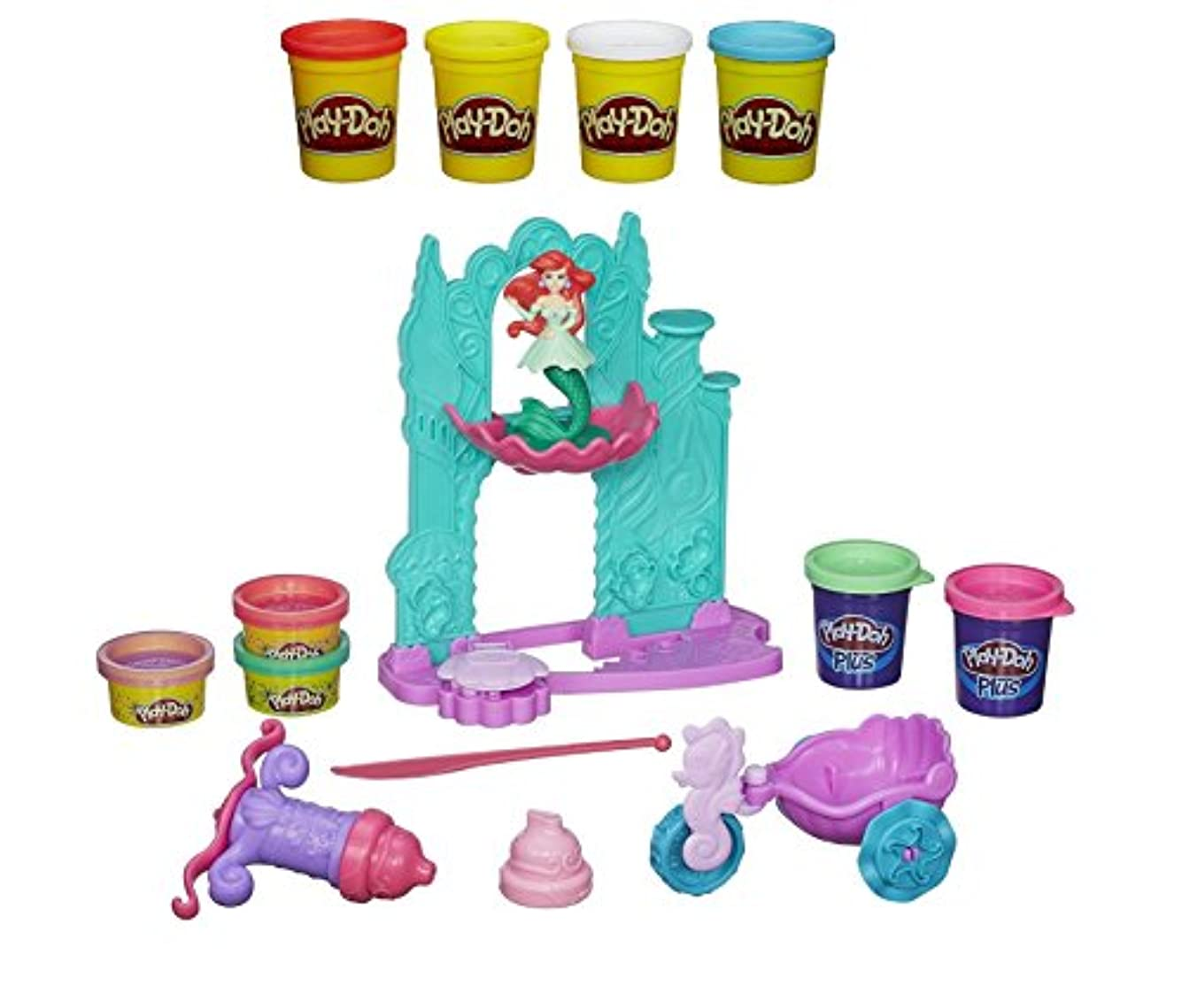 Play-Doh Disney Princess Ariels Undersea Castle Playset + Play-Doh 4-Pack of Colors 20oz - Bundle