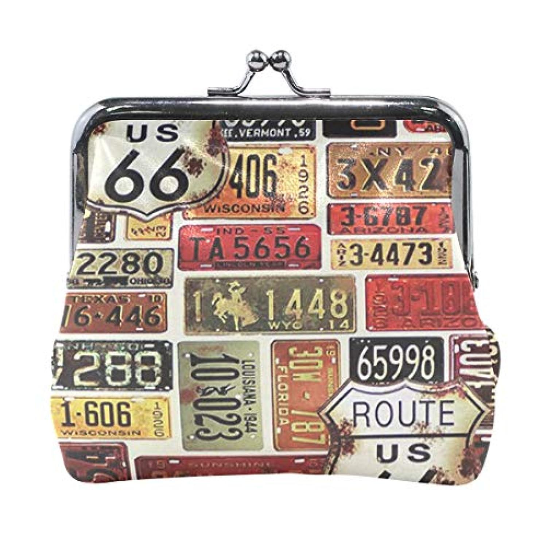 がま口 小銭入れ 財布 アメリカの道路 コインケース レザー製 丸形 軽量 人気 おしゃれ プレゼント ギフト 雑貨