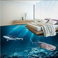 Lcymt Hdアンダーウォーターワールド3Dフロア壁画寝室の浴室Pvc自己接着防水フロア壁画壁紙3Dフロアタイルステッカー-400X280Cm
