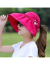 IAIZI 女性の折りたたみ可能な太陽の帽子、夏のカジュアル屋外の日の保護UVプロテクションロングハットの庇空のトップビーチキャップ56 * 15 * 11センチメートル