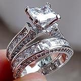 2イン1レディースヴィンテージホワイトサファイアダイヤモンド925スターリングシルバー婚約結婚指輪セット 10