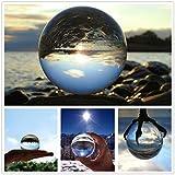 水晶球 60mm 撮影レンズボール 無色透明 開運祈願 インテリア 風水グッズ 水晶玉 クリア台座 拭き取り布付き (60mm-スタンド)