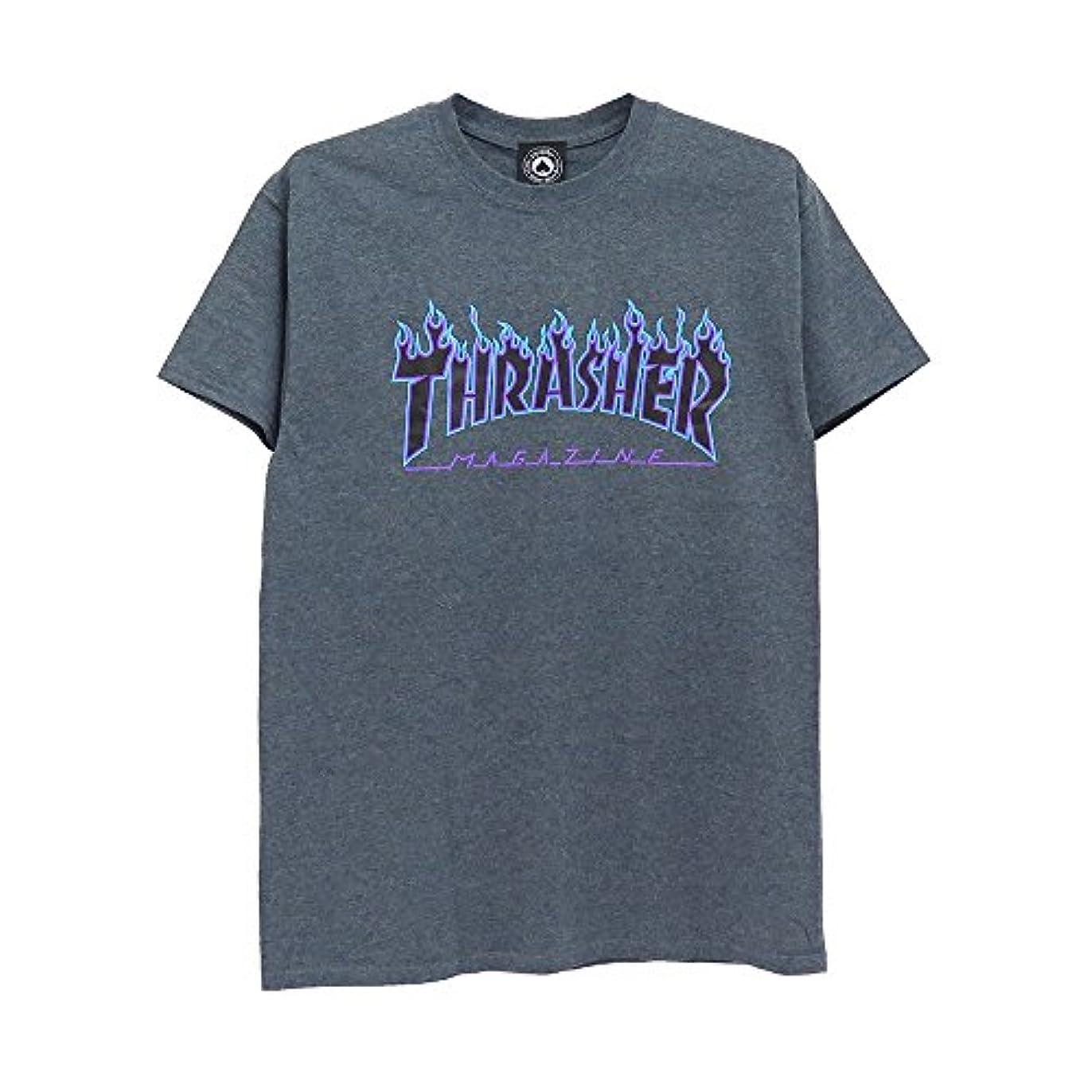 夢中より平らな厄介なTHRASHER T-SHIRT スラッシャー Tシャツ FLAME LOGO HEATHER