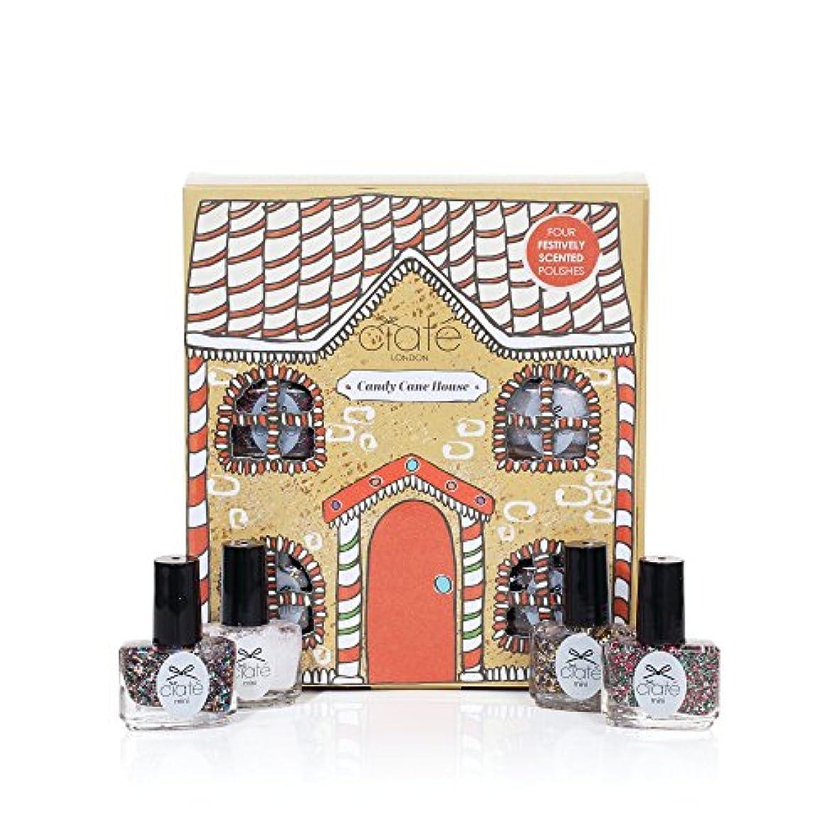 タイトルブラシくつろぐCiate London シアテロンドン キャンディーケイン ハウス Candy Cane House 香り付き ネイル ポリッシュ 5mL×4本入りセット