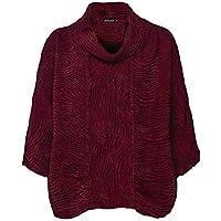 Grizas Women's Linen & Silk Embossed Cowl Neck Top Red
