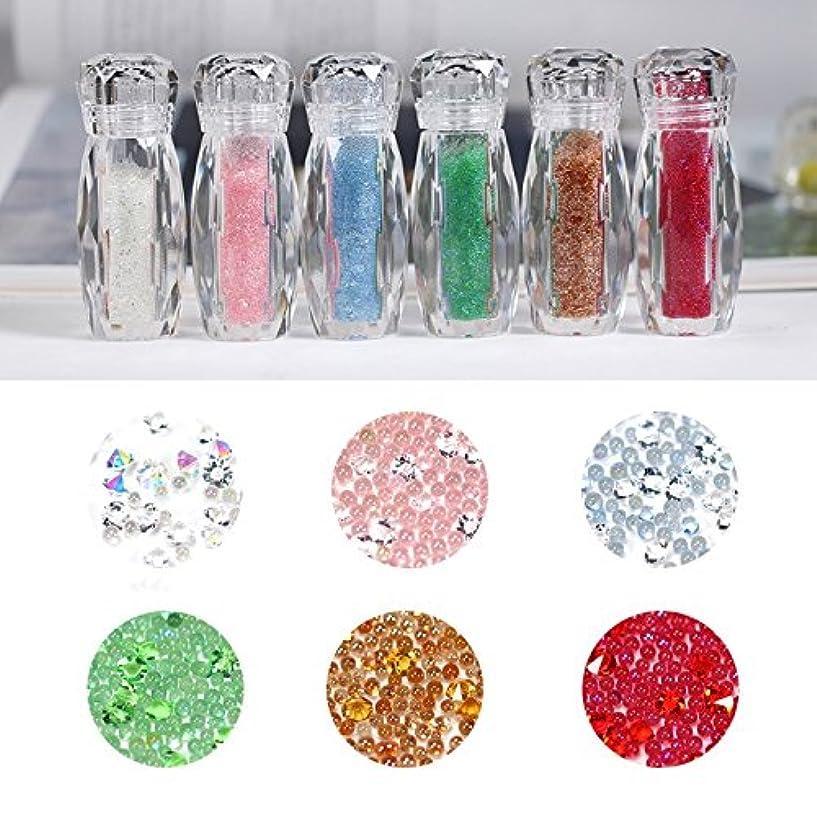 大きなスケールで見ると道徳避難するBlueZOO (ブルーズー) 6色/セット カラフル エルフビーズ ネイルアクセサリー 混合ネイルアート クリスタルサンド マイクロ カット ダイヤモンド