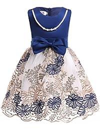 (フォーペンド)Forpend 子供ドレス フラワー刺繍 キッズ フォーマルネックレス付 110 120 130 140 150 結婚式 発表会 女の子用 子供服 ワンピース DR17
