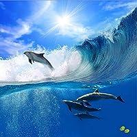 Weaeo カスタム写真の壁紙3D大規模な壁画のリビングルームのソファの子供の漫画の空イルカの海の壁紙-200X140Cm