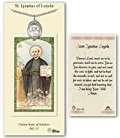 ピューターSt Ignatius of Loyola medal on an 24インチHeavy Curb Chain With A Prayer To St Ignatius Loyola Prayerカード。