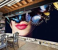 Mbwlkj 3D の Bueaty 写真の壁紙の壁の壁画を大規模なデスクトップの壁絵リビングルームダイニングルームの壁紙バーホールのセクシーな唇の壁画があります。-250Cmx175Cm