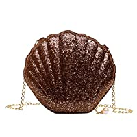 女性のショルダーメッセンジャーバッグスパンコールシェル形状PUクロスボディガールズファッション小さなチェーンサッチェルバッグ,Brown
