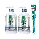 【Amazon.co.jp限定】 GUM(ガム) ウェルプラス デンタルリンス 低刺激ノンアルコールタイプ 薬用液体ハミガキ 900ml×2本+ハブラシ1本付き
